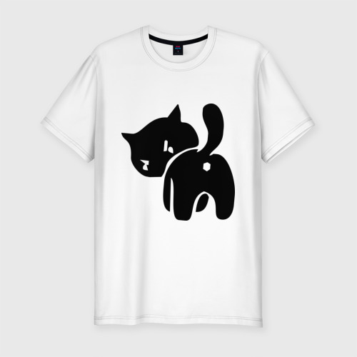 Мужская футболка хлопок Slim Котёнок зад