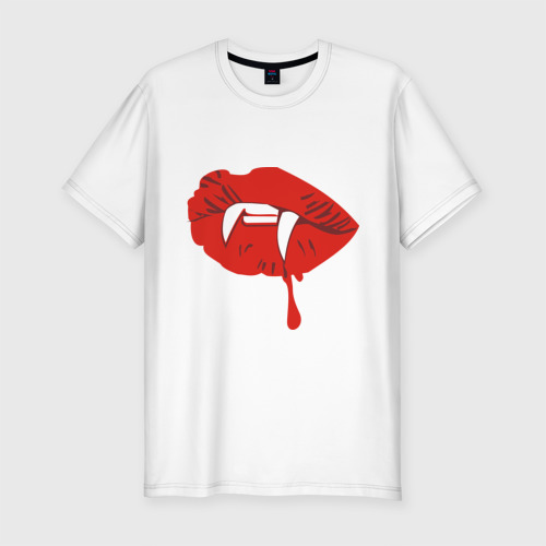 Мужская футболка хлопок Slim Губы вампира