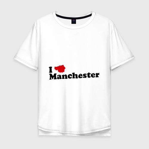 Мужская футболка хлопок Oversize Я люблю Манчестер Юнайтед