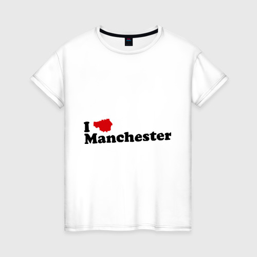 Женская футболка хлопок Я люблю Манчестер Юнайтед
