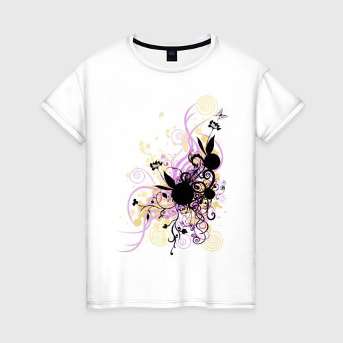 Женская футболка хлопок 2 rabbit in flowers