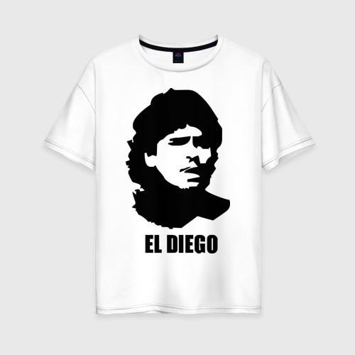 Женская футболка хлопок Oversize Диего Марадона