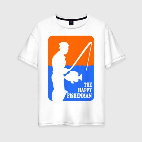 Женская футболка хлопок Oversize Счастливый рыбак