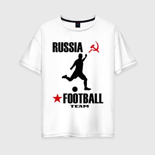 Женская футболка хлопок Oversize Российский футбол