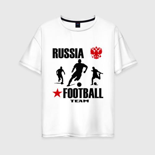 Женская футболка хлопок Oversize Российская футбольная команда