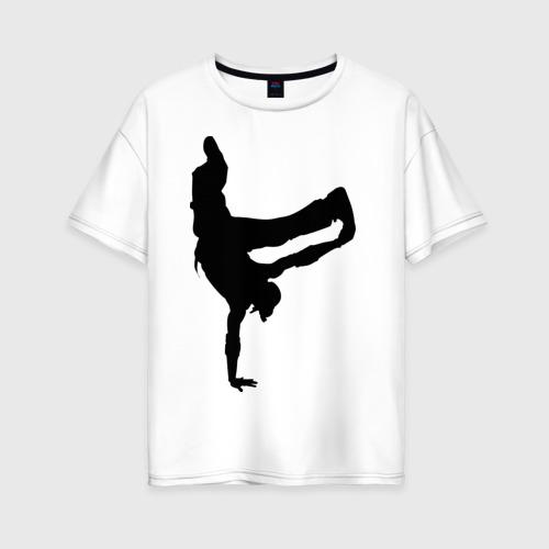 Женская футболка хлопок Oversize Брэйк дансер