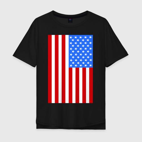 Мужская футболка хлопок Oversize Американский флаг