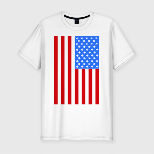 Мужская футболка хлопок Slim Американский флаг