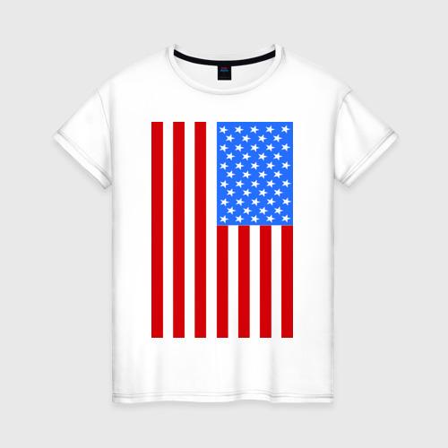 Женская футболка хлопок Американский флаг
