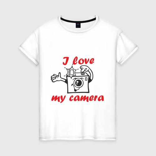 Женская футболка хлопок I love my camera