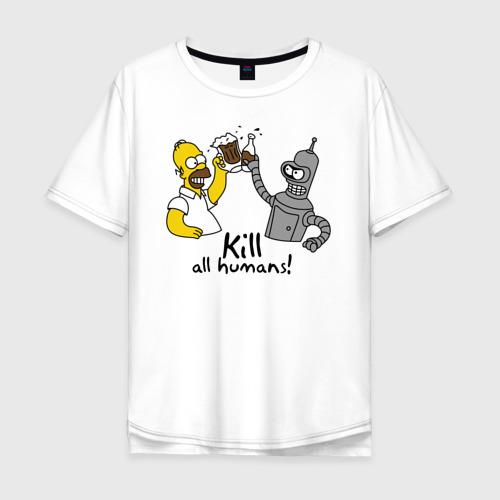 Мужская футболка хлопок Oversize Бендер пьет с Гомером
