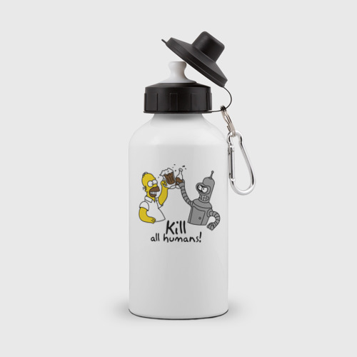 Бутылка спортивная Бендер пьет с Гомером