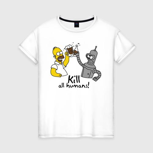Женская футболка хлопок Бендер пьет с Гомером