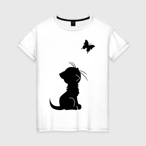 Женская футболка хлопок Котенок и бабочка