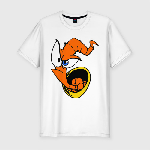 Мужская футболка хлопок Slim Червяк Джим (Earthworm jimm)