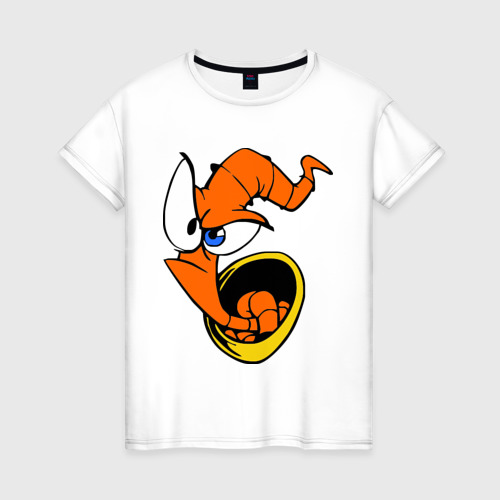 Женская футболка хлопок Червяк Джим (Earthworm jimm)