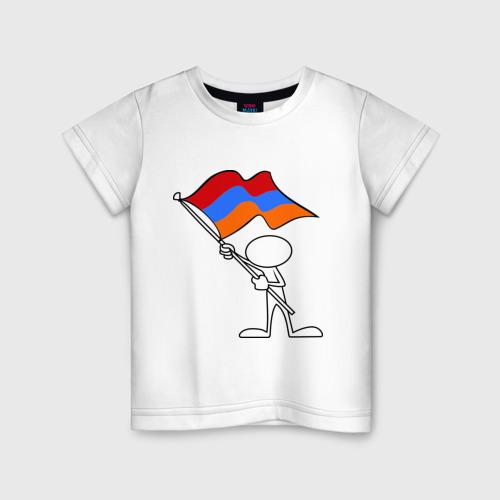 Детская футболка хлопок Армения (человек с флагом)