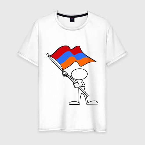 Мужская футболка хлопок Армения (человек с флагом)