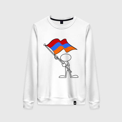 Женский свитшот хлопок Армения (человек с флагом)