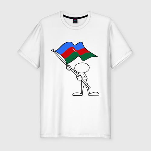 Мужская футболка хлопок Slim Waving flag - Azerbaijan