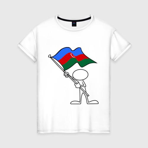 Женская футболка хлопок Waving flag - Azerbaijan
