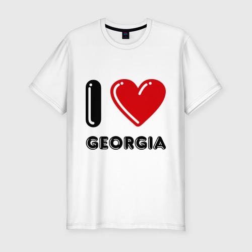 Мужская футболка хлопок Slim I love Georgia