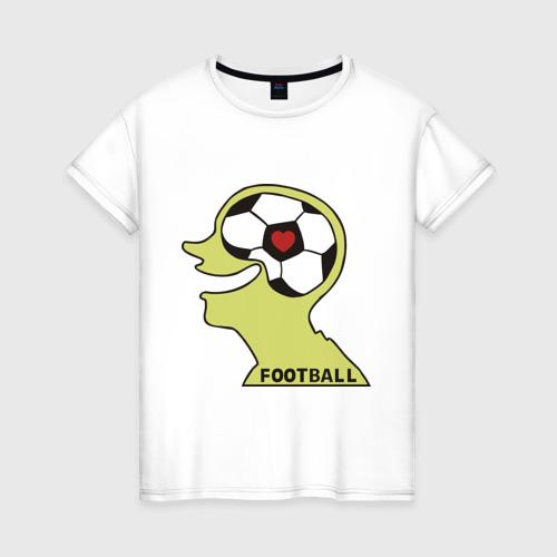 Женская футболка хлопок Я люблю футбол (2)
