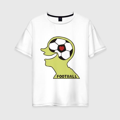 Женская футболка хлопок Oversize Я люблю футбол (2)