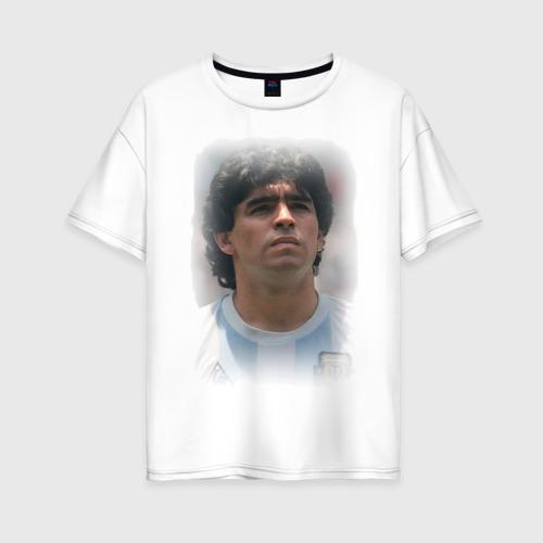 Женская футболка хлопок Oversize Diego Maradona (2)