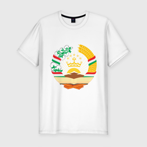 Мужская футболка хлопок Slim Таджикистан герб