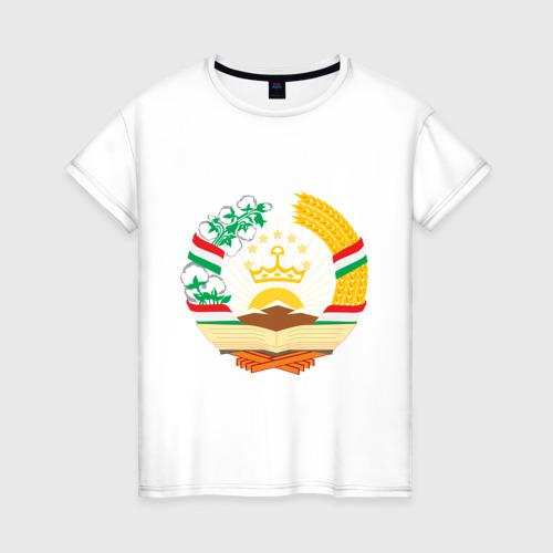 Женская футболка хлопок Таджикистан герб