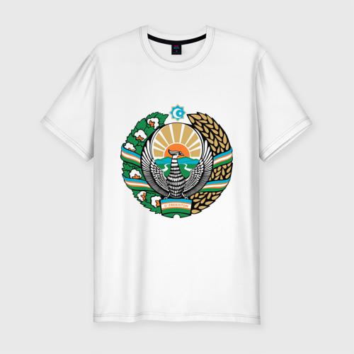 Мужская футболка хлопок Slim Узбекистан герб