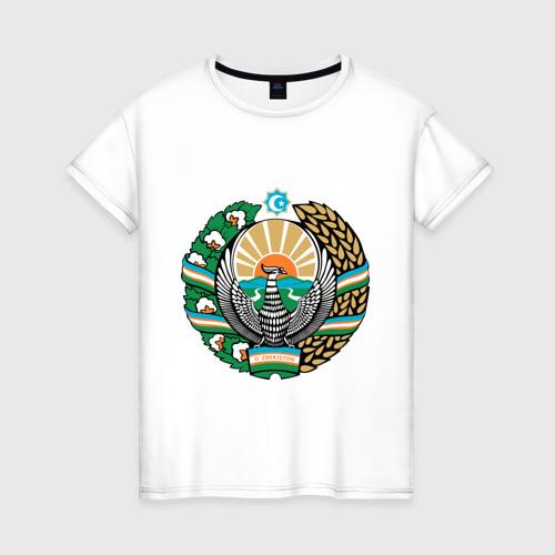Женская футболка хлопок Узбекистан герб