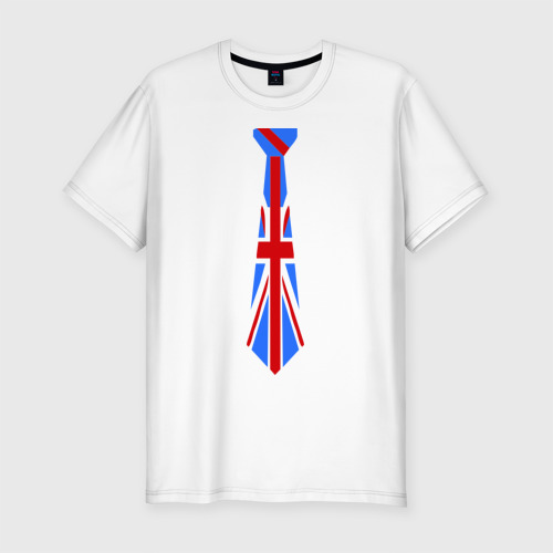 Мужская футболка хлопок Slim Британский флаг на галстуке