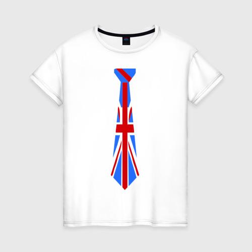 Женская футболка хлопок Британский флаг на галстуке