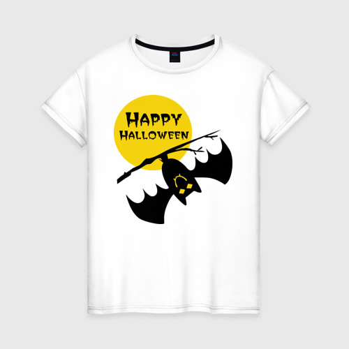 Женская футболка хлопок Летучая мышь и луна