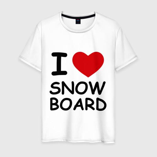 Мужская футболка хлопок Я люблю сноуборд
