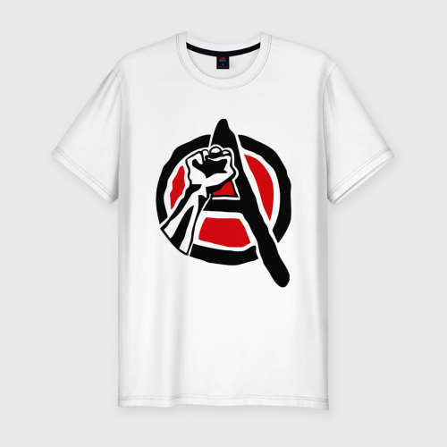 Мужская футболка хлопок Slim Анархия кулак