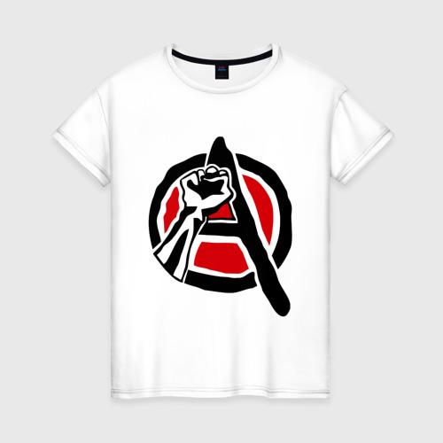 Женская футболка хлопок Анархия кулак