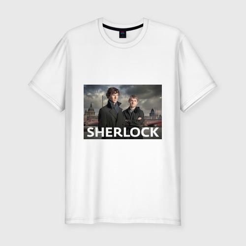 Мужская футболка хлопок Slim Шерлок город