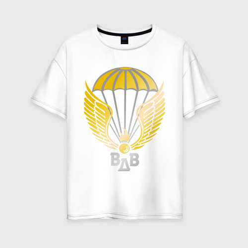 Женская футболка хлопок Oversize Парашют с крыльями