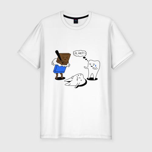 Мужская футболка хлопок Slim Шоколад и зубы