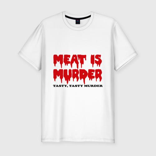 Мужская футболка хлопок Slim Мясо это вкусное убийство