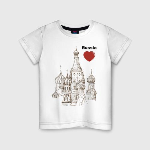 Детская футболка хлопок Люблю Россию (Кремль)