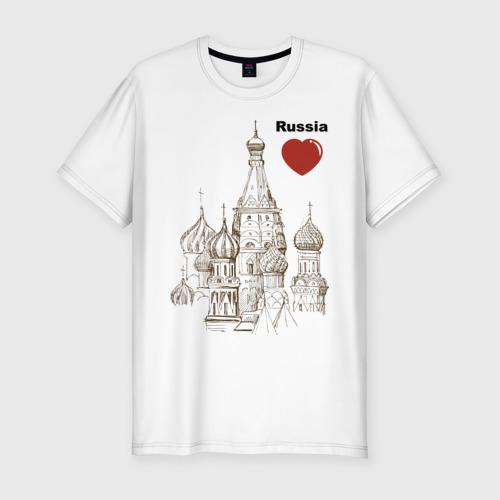 Мужская футболка хлопок Slim Люблю Россию (Кремль)
