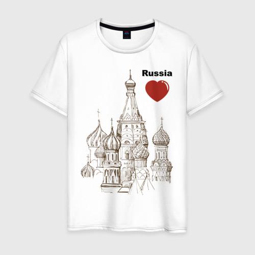 Мужская футболка хлопок Люблю Россию (Кремль)