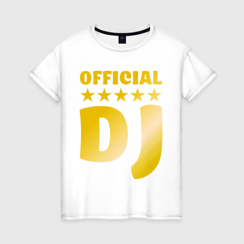 Женская футболка хлопок Official DJ золото