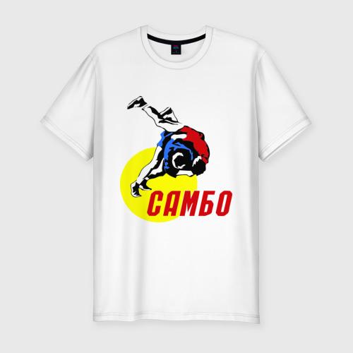 Мужская футболка хлопок Slim спорт самбо
