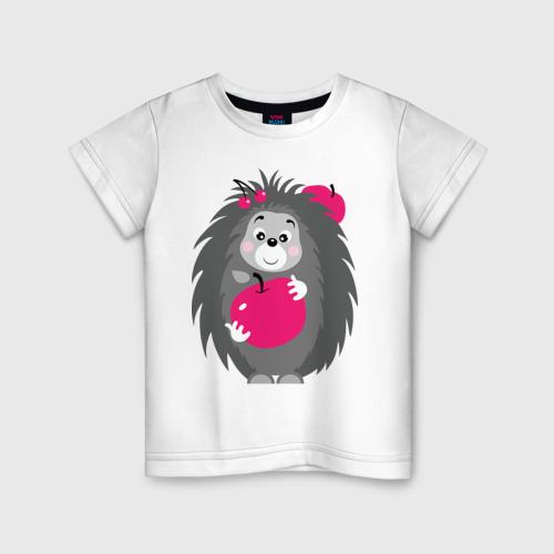 Детская футболка хлопок Ёжик держит яблоко