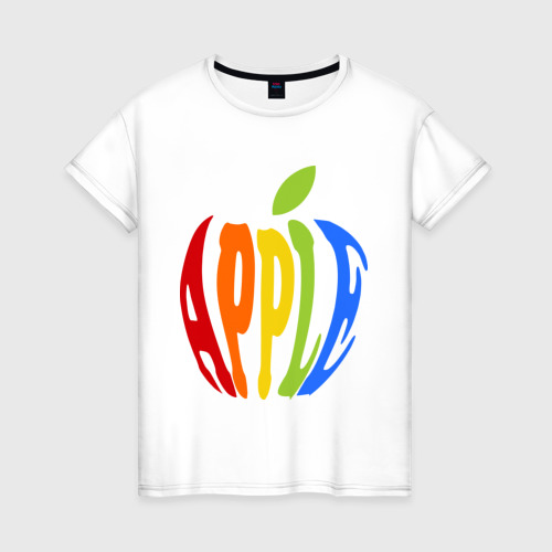 Женская футболка хлопок Apple яблоко